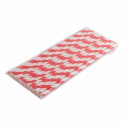 Трубочка бумажная Красно-белая полоска 197 мм (25 шт) фото