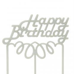 Топпер на торт Happy Birthday-1 (белый) фото