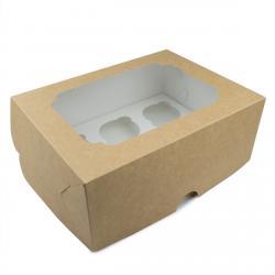 Упаковка для кексов с окошком (на 6шт) высокая крафт 255*190*100мм (фото 1 из 2)