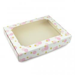 Упаковка для пряников с окошком 150*200*30мм Горох Розовый (фото 1 из 3)
