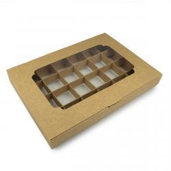 Упаковка для конфет с 24 ячейками (с окном) крафт 270*185*30мм (фото 1 из 2)