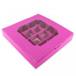 Упаковка для конфет с 16 ячейками (с окном) розовая 185*185*30мм (фото 1 из 2)
