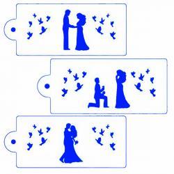Трафарет для глазури Свадебные силуэты 3 шт 08212 фото
