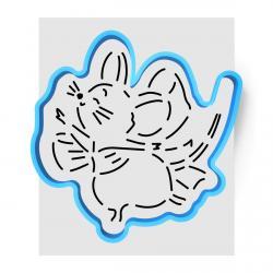 Мышка с бантиком вырубка с трафаретом 11,5*11,5 см (TR-1) фото