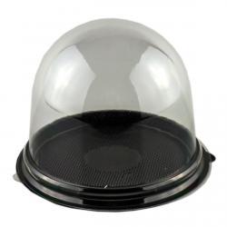 Упаковка для пирожного, капкейка с куполом и черным дном 9*8 см фото
