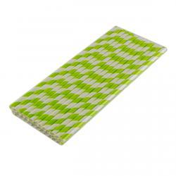 Трубочка бумажная Зеленая спираль 197 мм (25 шт) фото