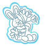 Пасхальный кролик с цветами вырубка с трафаретом 12*11 см (TR-2)