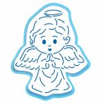 Ангелочек Мальчик вырубка с трафаретом 12*10 см (TR-2)