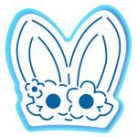 Ушки кролика с веночком вырубка с трафаретом 11*11 см (TR-2)