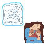 Мама и дети вырубка с трафаретом 12*11см (TR-2)