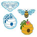 Пчелка и улей вырубка с трафаретом 8-9 см (TR-2)