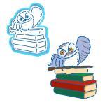 Сова с книгами (Гарри Поттер) вырубка с трафаретом 9*7 см (TR-2)