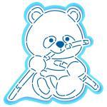 Панда с бамбуком вырубка с трафаретом 12*11,6 см (TR-2)