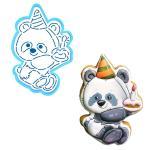 Панда с тортиком вырубка с трафаретом 12*7,9 см (TR-2)