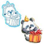 Панда с подарком вырубка с трафаретом 12*8,8 см (TR-2)