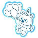 Панда с шариками вырубка с трафаретом 12*11 см (TR-2)