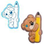 Мишка с карандашом вырубка с трафаретом 13*8,5 см (TR-2)