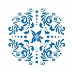 Фон Цветы и бабочки трафарет для пряника 12*12 см (TR-2)