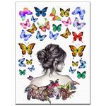 Силуэт девушки 18 см с бабочками вафельная картинка