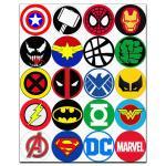 Капкейки-5 см Супергеройские значки вафельная картинка