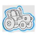 Синий трактор вырубка с трафаретом 10,5*13 см (TR-1)