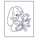 Трафарет Зайка с тюльпанами 10*9 см (TR-1)