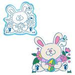 Пасхальный кролик вырубка с трафаретом 13*13 см (TR-2)