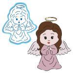 Ангелочек Девочка вырубка с трафаретом 12*10 см (TR-2)
