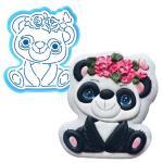 Панда с веночком вырубка с трафаретом 12*10,5 см (TR-2)