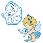 Девочка-Ангелок вырубка с трафаретом 12*10 см (TR-1)